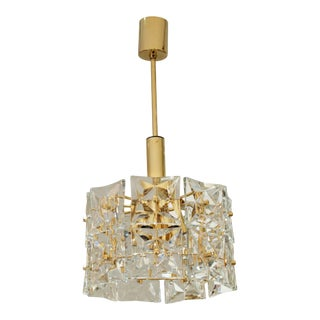 Two-Tier Goldplate Drum-Form Chandelier with Square Crystals by Kinkeldey For Sale
