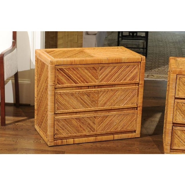 1970s Incredible Pair of Restored Vintage Cane and Reed Bamboo Small Chests For Sale - Image 5 of 11