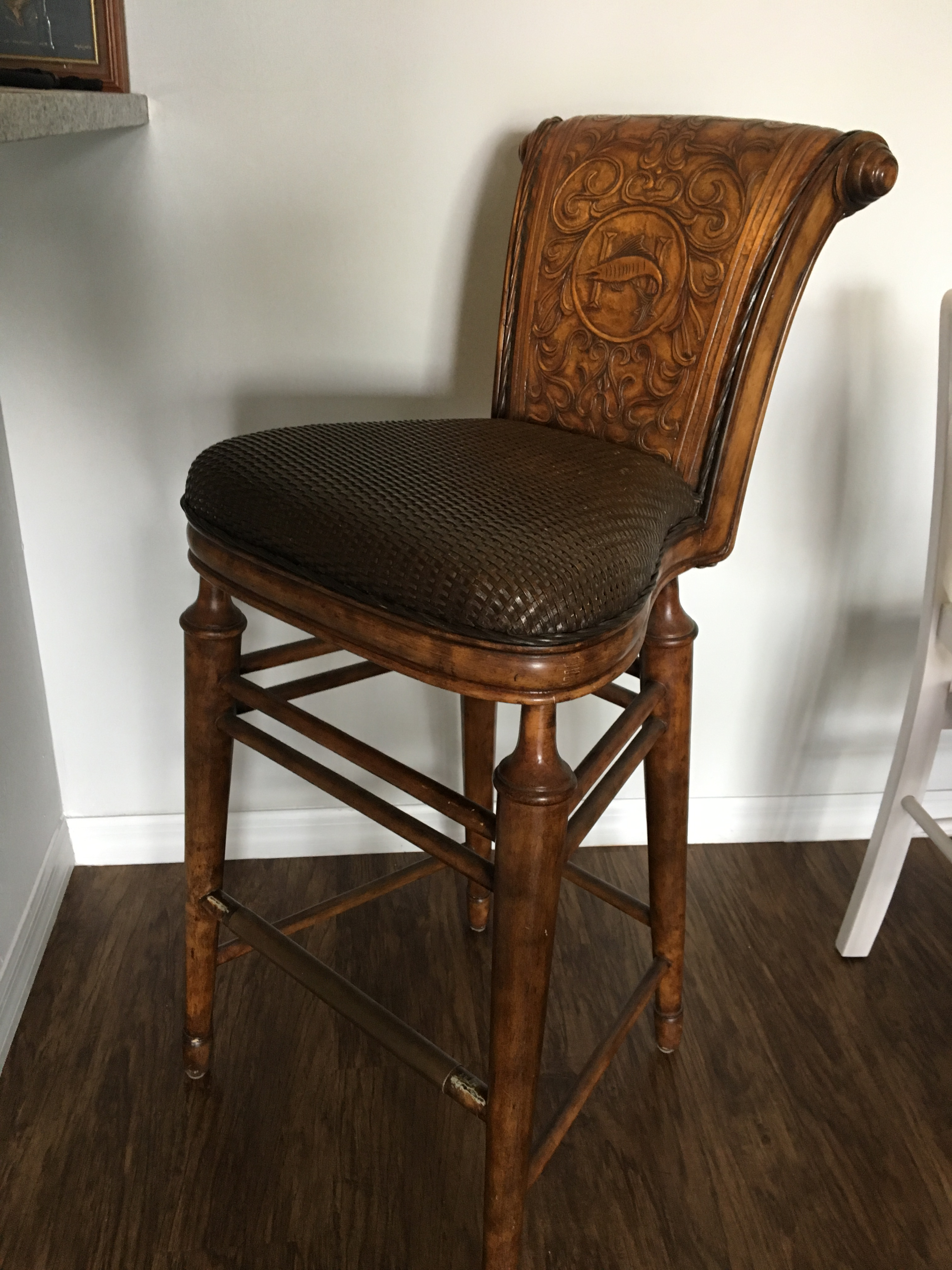 Traditional Thomasville Hemingway Collection Marlin Bar Stool For Sale    Image 3 Of 3