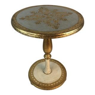 Florentine Italy Hollywood Regency Gold Leaf Pedestal Table For Sale