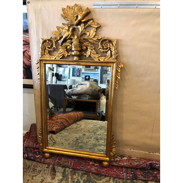 Glass Antique French Gold Leaf Wall Mirror For Sale - Image 7 of 7