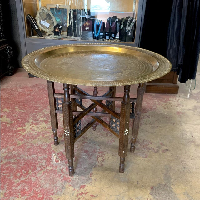 Antique Moroccan Round Brass Tray Side Table For Sale - Image 10 of 10
