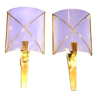 Brass and Perspex Sconces by Maison Lunel, France - a Pair For Sale