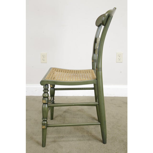 """Hitchcock Green Painted """"Thomas Jefferson's Monticello"""" Cane Seat Side Chair (B) For Sale - Image 10 of 13"""