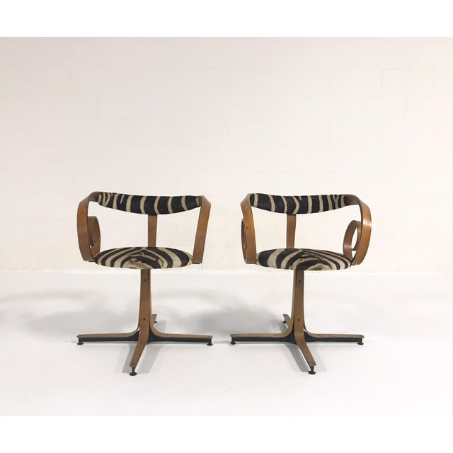 George Mulhauser for Plycraft Sultana Chairs Restored in Zebra Hide - Pair For Sale In Saint Louis - Image 6 of 11