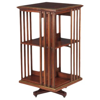 Empire Style English Revolving Bookshelf in Cherrywood,Late 1800s