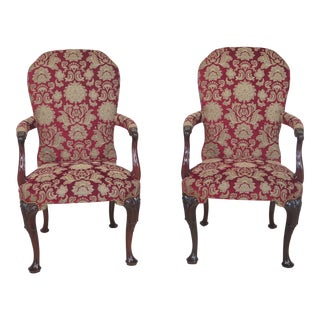 Kindel Carved Mahogany Open Arm Chairs - A Pair