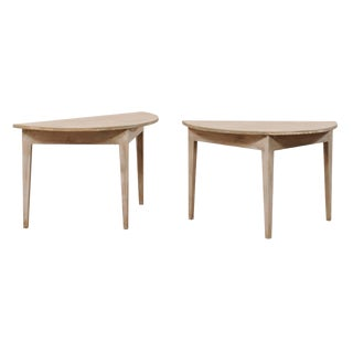 19th Century Swedish Painted Wood Demilune Tables - a Pair For Sale