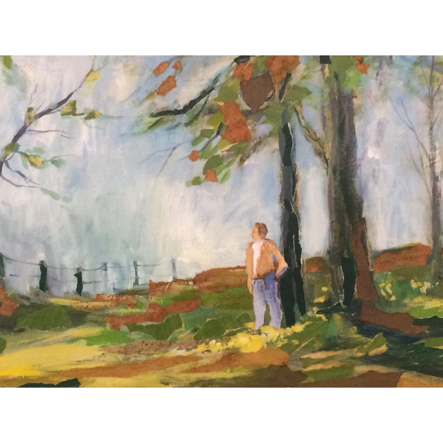 This fantastic, large painting by R. Vick features a man discovering a pasture in spring. In excellent condition, as shown...