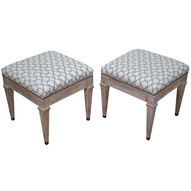 Vintage Custom Painted Regency Ottomans - A Pair - Image 1 of 10