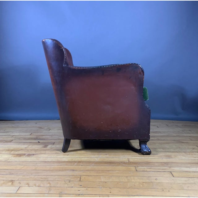 Early 1940s Danish Cognac Leather Club Chair, New Mohair For Sale - Image 4 of 10
