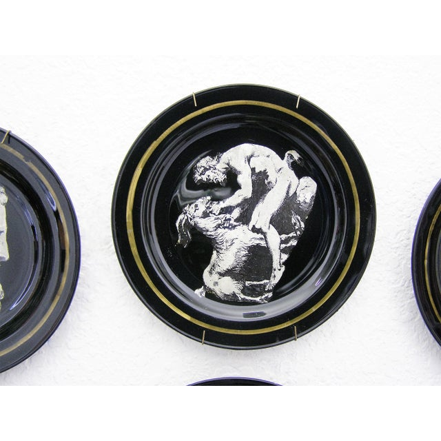 Fornasetti Style Neoclassical Black Glass Wall Plates - Set of 6 Mid-Century Modern MCM - Image 8 of 11