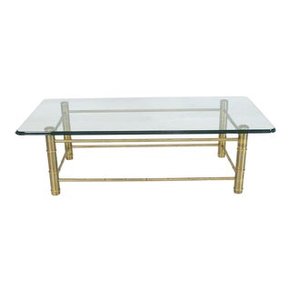 Faux Bamboo Brass and Glass Rectangular Coffee Table For Sale