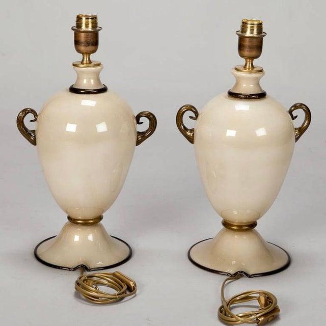 Pair of Mid Century Murano Amphora Art Glass Aventurine Table Lamps - Image 7 of 8