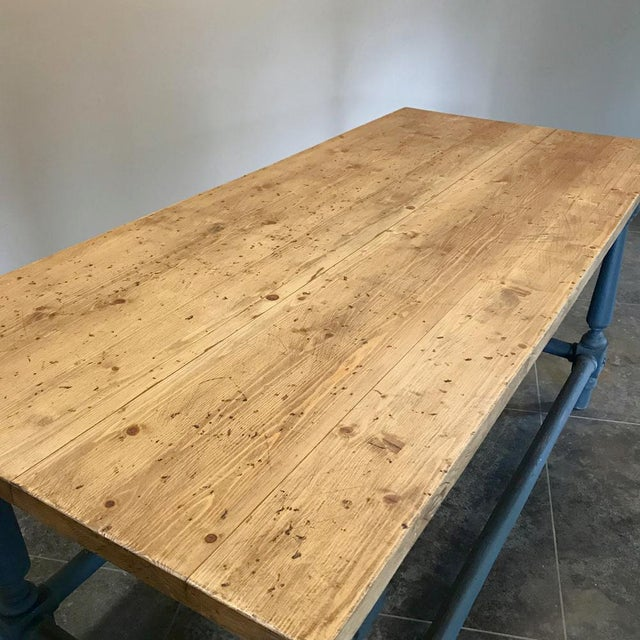 Antique Painted Dining Table With Stripped Top For Sale - Image 4 of 12