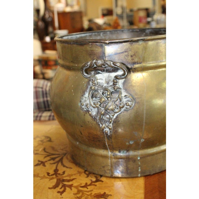 Traditional Brass Fireplace Cachepot For Sale - Image 4 of 5