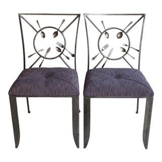 "Randall Kramer ""Silverware"" Chairs - A Pair For Sale"