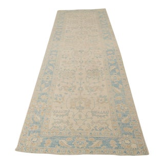 """Traditional Pakistani Peshawar Muted Color Hand Knotted Wool Runner - 12'11"""" X 4'1"""""""