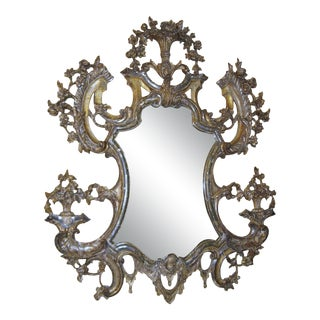 Large 18th Century Italian Carved Silver Gilt Mirror For Sale