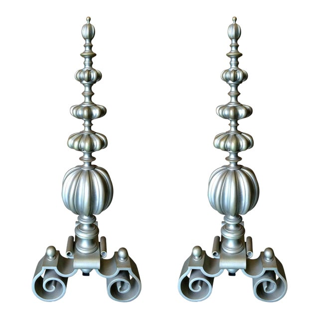 Large-Scale Italian Baroque Style Brass Andirons - A Pair For Sale