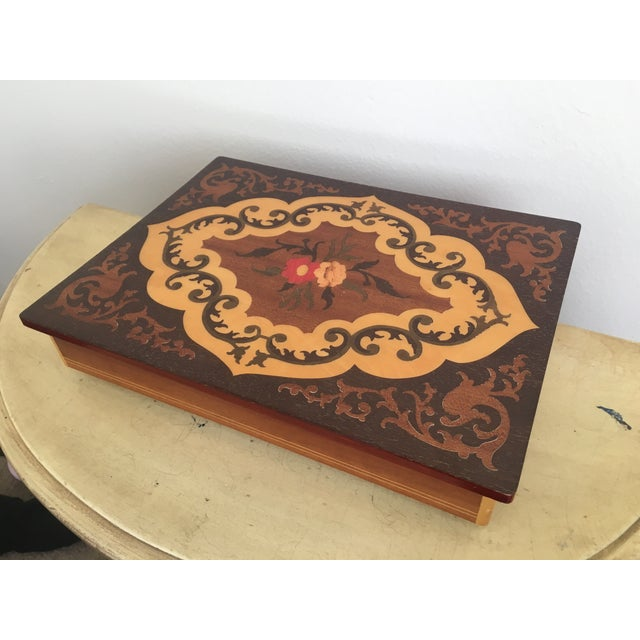 Large Italian Inlaid Wood Jewelry Box Vintage - Image 3 of 11