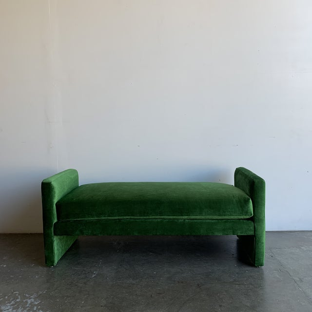 1980s Italian modern bench redone in emerald green velvet, multiple fabric options available.