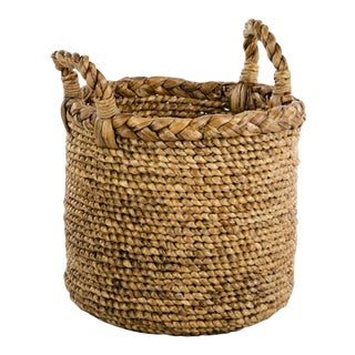 Woven Seagrass Handled Basket For Sale