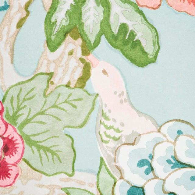 Contemporary Schumacher x Mary McDonald Bermuda Blossoms Wallpaper in Aqua , Sample For Sale - Image 3 of 6