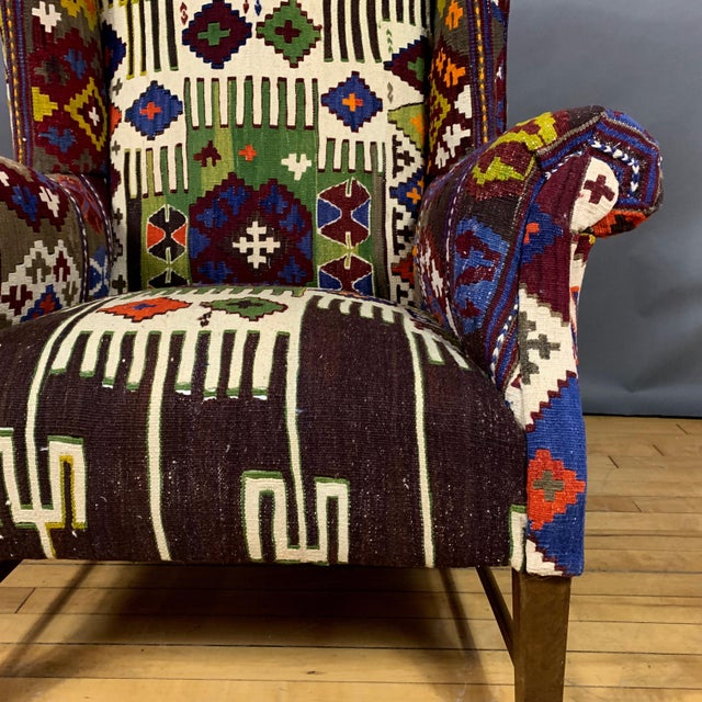 Textile 1940s Danish Wingchair, Semi-Antique Turkish Kilim Cover For Sale - Image 7 of 12