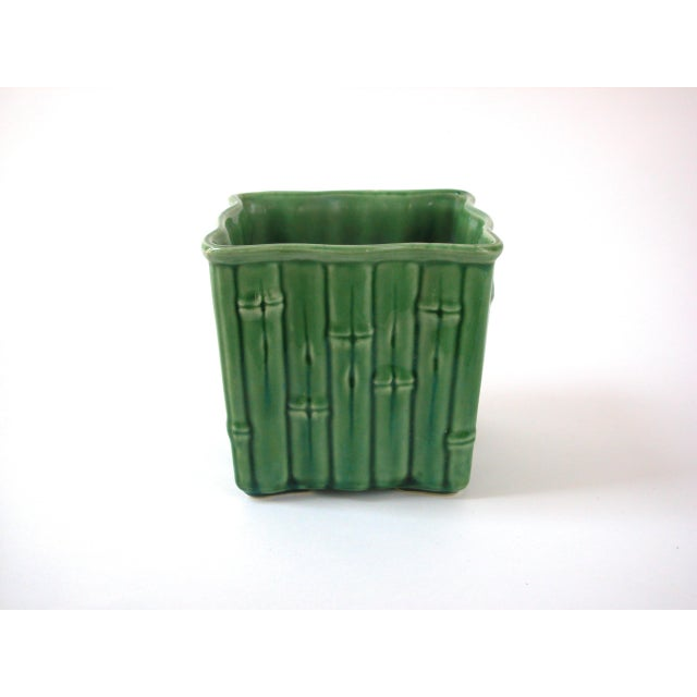 Ceramic Green Ceramic Bamboo Planter For Sale - Image 7 of 7
