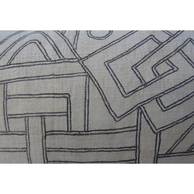 White Geometric Kuba Cloth Pillows - A Pair For Sale - Image 8 of 10