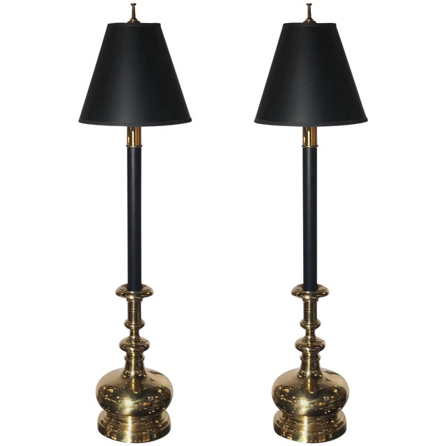 20th Century Traditional Chapman Manufacturing Company Tall Buffet Candlestick Lamps - a Pair For Sale