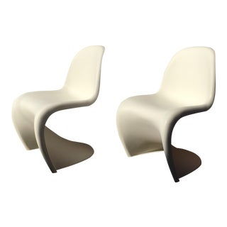 "Early 21st Century Verner Panton Matte White ""S"" Chairs- A Pair For Sale"