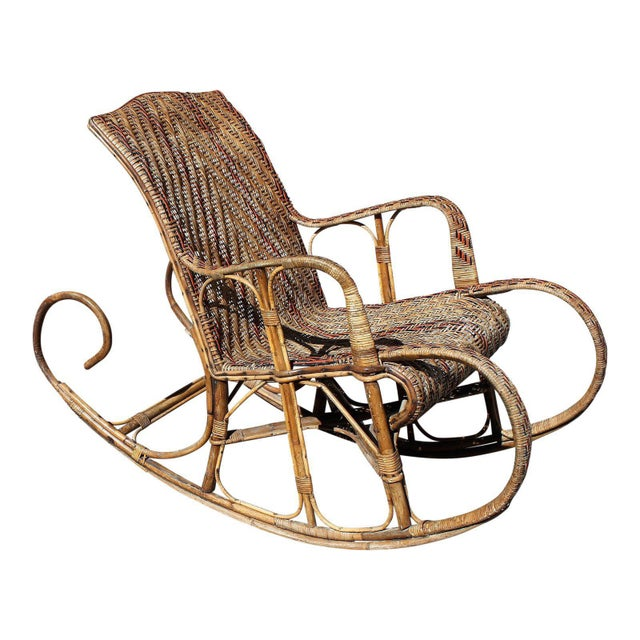 C. 1940s French Art Deco Wood Rocking Chair For Sale In Miami - Image 6 of 13
