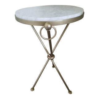 Art Deco White Marble and Iron Tripod Accent Table
