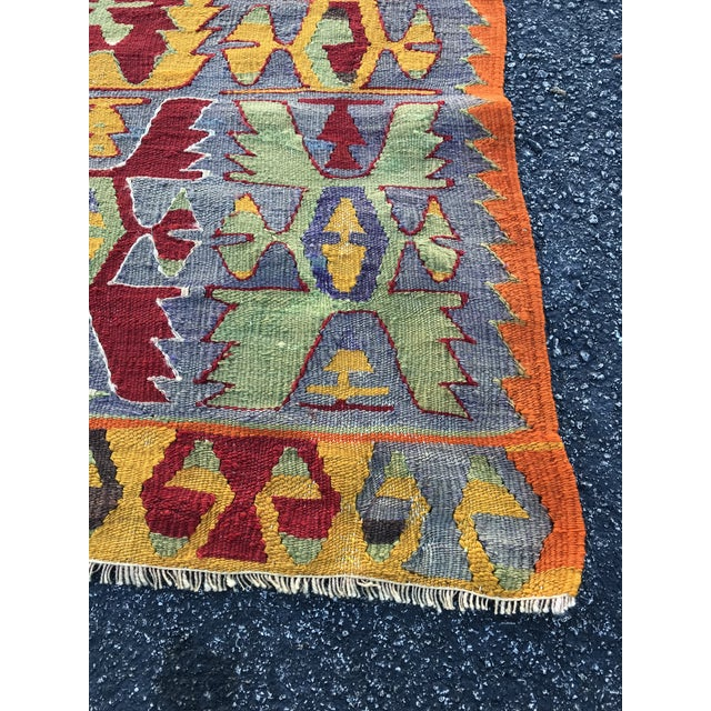 Vintage Turkish Cal Kilim Rug / Tapestry - 4′10″ × 8′1″ For Sale In Miami - Image 6 of 9