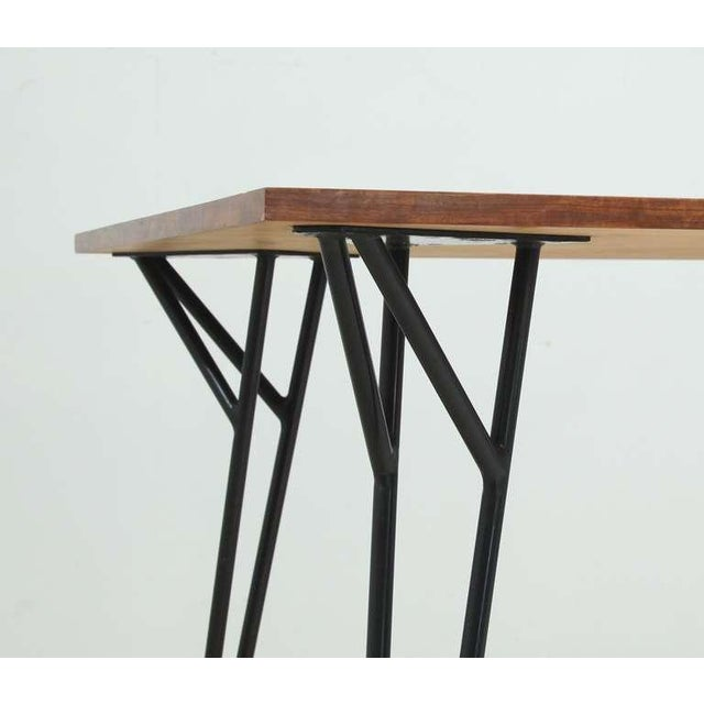 Alfred Hendrickx rare desk or dining table in root wood veneer, Belgium, 1950s For Sale - Image 6 of 7