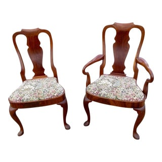 Queen Anne Style Chairs with Tapestry Upholstered Compass Seats - A Pair For Sale