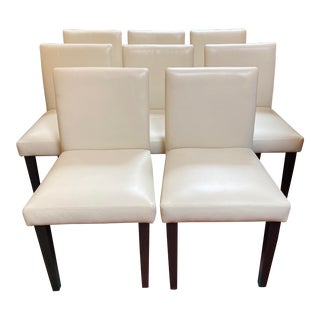 West Elm Porter Leather Dining Chairs - Set of 8 For Sale