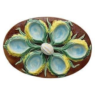 Antique English Majolica Egg Platter For Sale