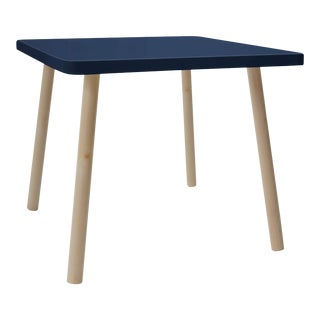 "Tippy Toe Large Square 30"" Kids Table in Maple With Deep Blue Finish Accent For Sale"