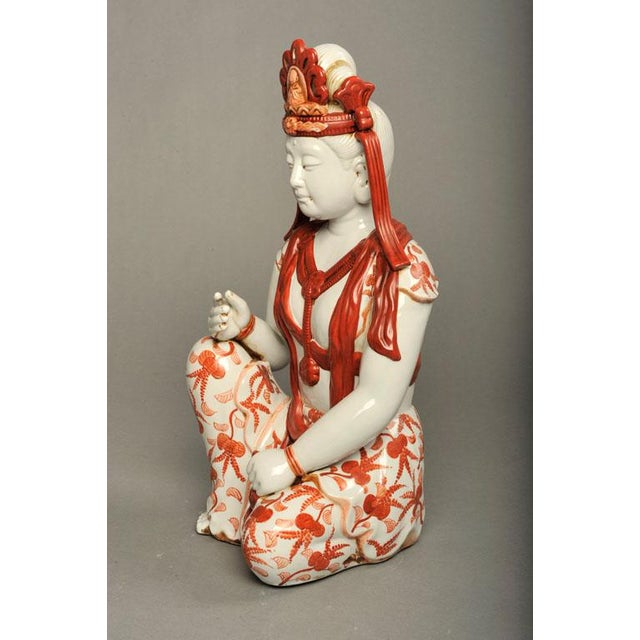 Japanese Hand-Painted Porcelain Bodhisattva Sculpture - Image 8 of 8