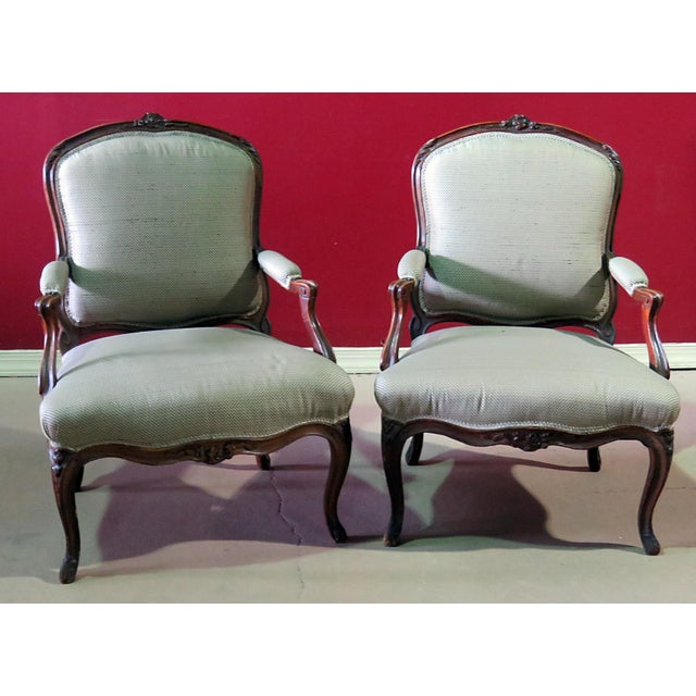 Green Louis XV Style Fauteuil Chairs - a Pair For Sale - Image 8 of 8