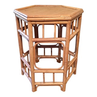 Vintage Hexagon Bamboo Rattan Side Table, Brighton Pavilion Style For Sale
