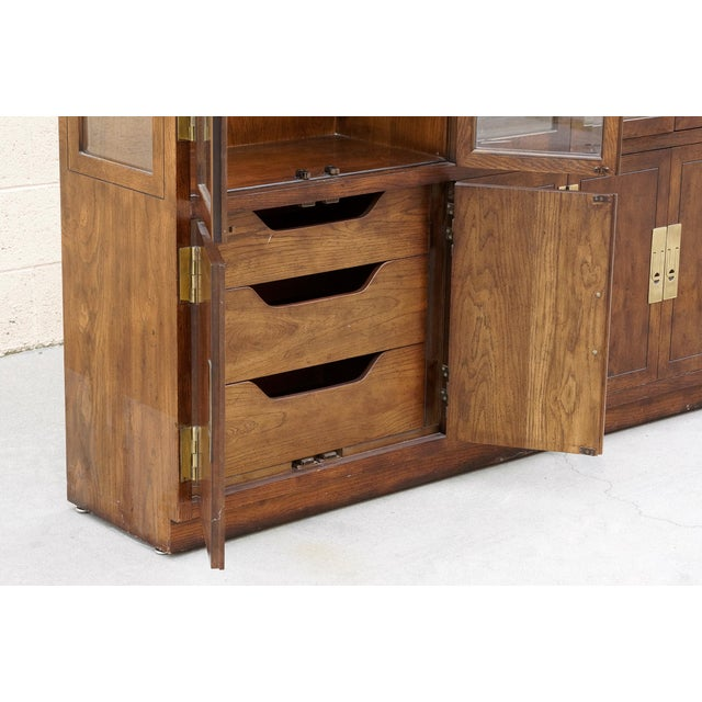 """Brass 1970s """"Campaign Series"""" Modern China Cabinet by Henredon For Sale - Image 7 of 10"""