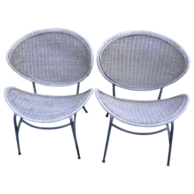 Salterini Wicker Clamshell Chairs, Pair, With Steel Frame for Home, Patio, Porch For Sale