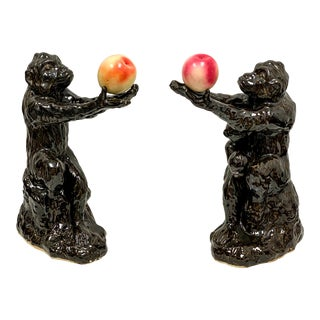 Vintage Hollywood Regency Style Italian Begging Monkey Family- a Pair For Sale