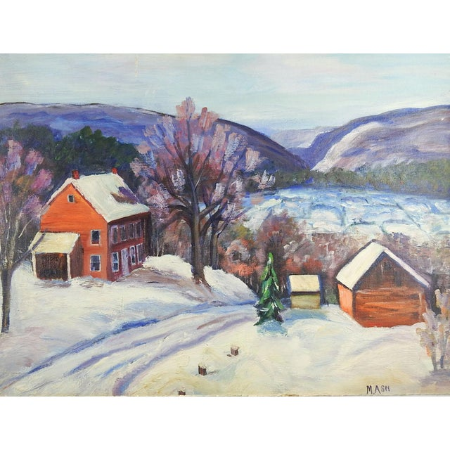 Farm in Winter Painting For Sale - Image 4 of 4