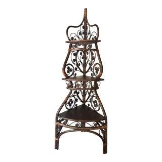 Mid-Century 3-Tier Rattan and Wood Corner Étagère For Sale