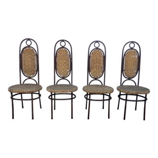 Mid-Century Iron Woven Dining Chairs - Set of 4